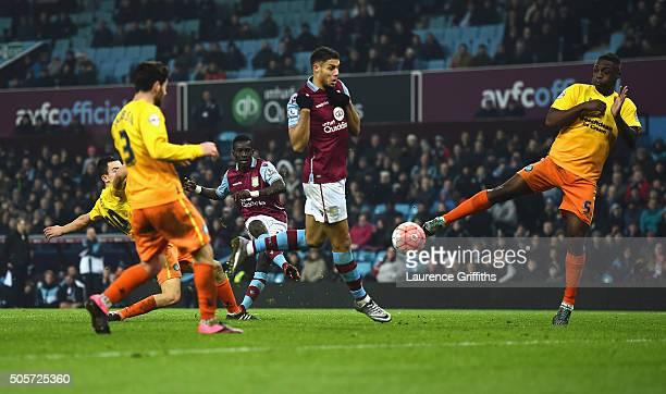 Idrissa Gueye of Aston Villa scores his team's second goal during the Emirates FA Cup Third Round Replay match between Aston Villa and Wycombe...