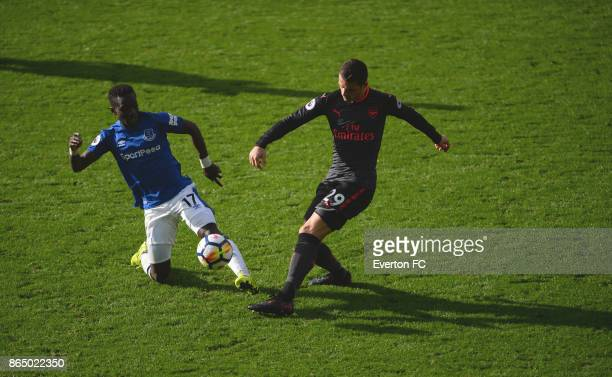 Idrissa Gueye of Everton is sent off after tackling Granit Xhaka of Arsenal during the Premier League match between Everton and Arsenal at Goodison...