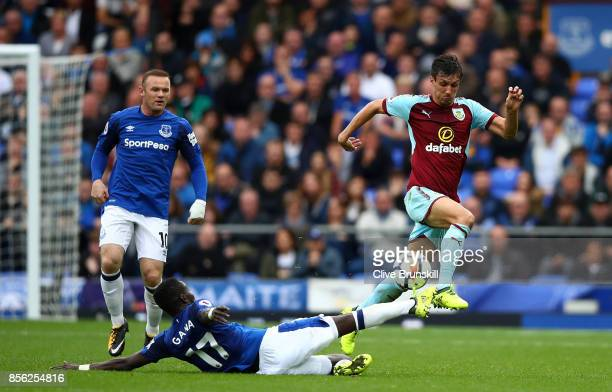Idrissa Gueye of Everton tackles Jack Cork of Burnley during the Premier League match between Everton and Burnley at Goodison Park on October 1 2017...