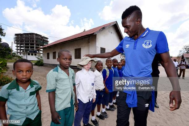 Idrissa Gueye of Everton visits Uhuru Primary School in DarEsSalaam on July 12 2017 in Dar es SalaamTanzania