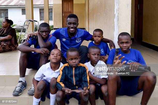 Idrissa Gueye of Everton visits Uhuru Primary School in DarEsSalaam on July 12 2017 in Dar es Salaam Tanzania