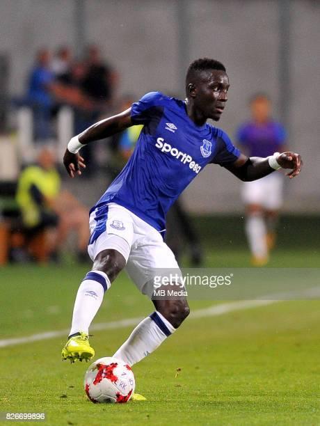 Idrissa Gueye reacts during the UEFA Europa League Qualifier between MFK Ruzomberok and Everton on August 3 2017 in Ruzomberok Slovakia