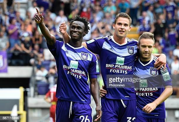 Idrissa Sylla forward of RSC Anderlecht and Leander Dendoncker midfielder of RSC Anderlecht with Diego Capel midfielder of RSC Anderlecht celebrates...