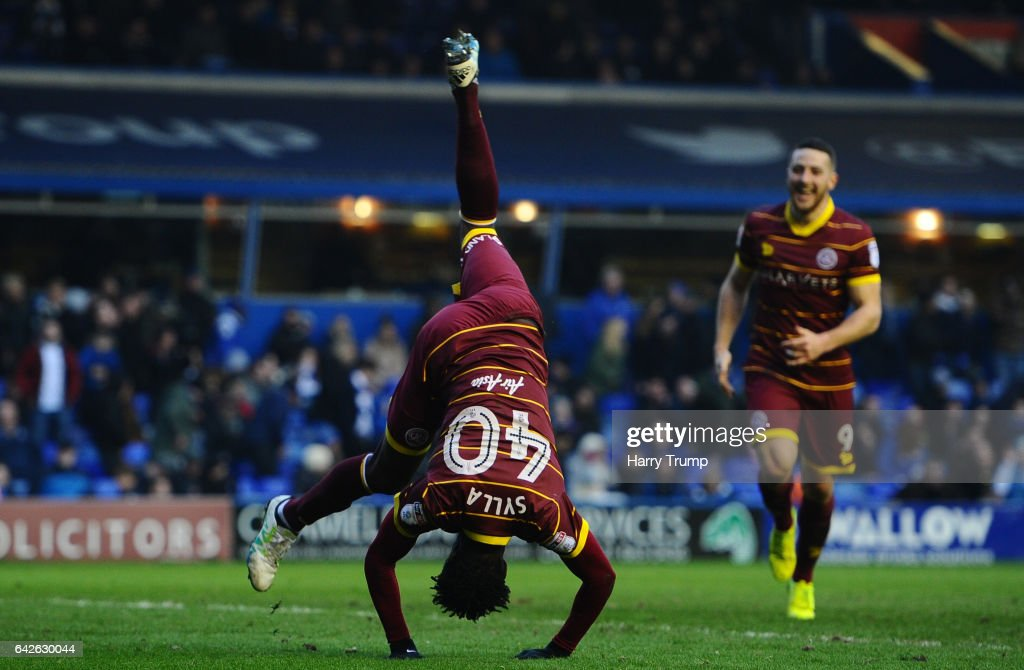 Idrissa Sylla of QPR celebrates scoring his side's third goal during the Sky Bet Championship match between Birmingham City and Queens Park Rangers at St Andrews Stadium on February 18, 2017 in Birmingham, England.