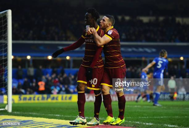 Idrissa Sylla of QPR celebrates scoring his side's third goal with Conor Washington of QPR during the Sky Bet Championship match between Birmingham...