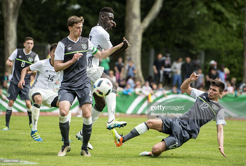 Idrissa Toure of Germany challenges Dan Mandroiu of Ireland during the international friendly match between Germany and Ireland on May 11 2016 in...