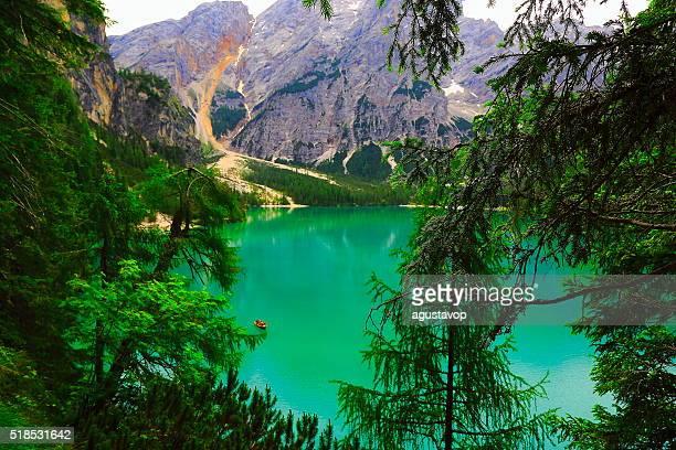 Idyllic Braies alpine blue lake panorama, Dolomites, Italian Tirol alps