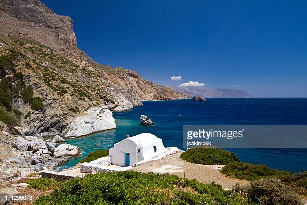 Idyllic coast with church in Amorgos island in Greece