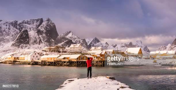 Idyllic coastal village in winter, Norway