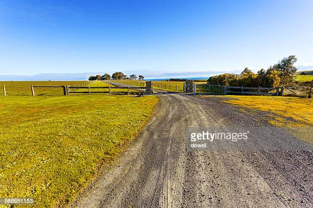 Idyllic country road with blue sky