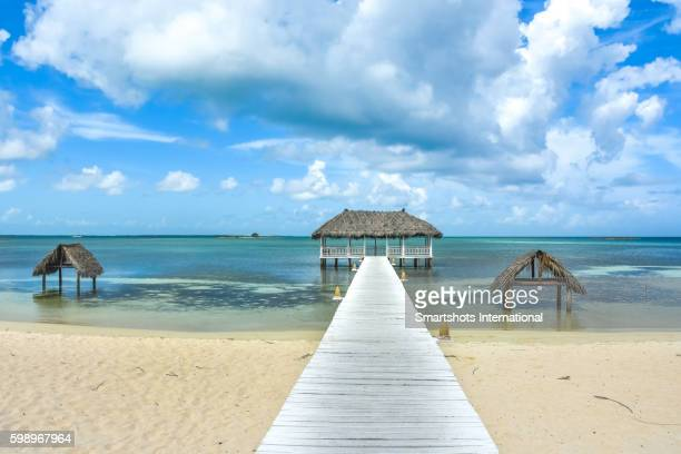 Idyllic image of the Caribbean sea with a scenic jetty, turquoise waters and a white sandy beach