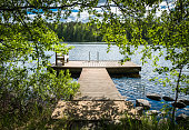 Idyllic lake view with pier at bright sunny summer day.
