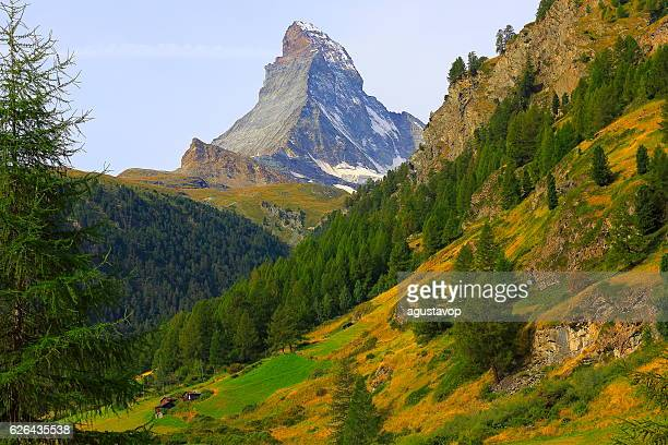 Idyllic Matterhorn alpine landscape above Green Zermatt Valley, Swiss Alps