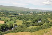Idyllic shot of green landscape against sky in Teesdale