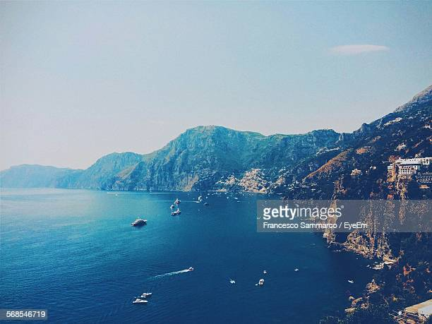 Idyllic Shot Of Rocky Mountains By Sea Against Sky In Praiano