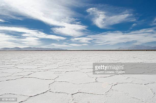Idyllic Shot Of Salt Lake Desert At Salinas Grandes Against Sky