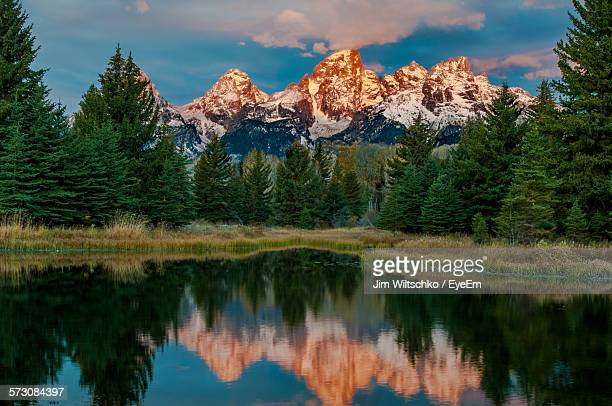 Idyllic Shot Of Snowcapped Grand Teton Mountains Reflection In Lake