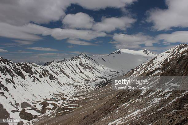 Idyllic Shot Of Snowcapped Mountains At Ladakh Against Sky
