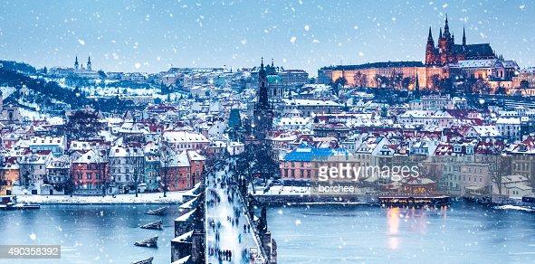 Idyllic Snowy Day In Prague