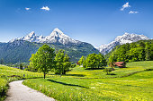 Idyllic summer landscape in the Alps, Nationalpark Berchtesgadener Land, Bavaria, Germany.