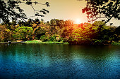 Scenic view of the beautiful water lake during sunset time.