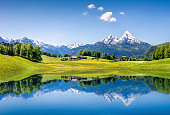 Idyllic summer landscape with clear mountain lake in the Alps.