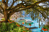 Flowers, mountains and Lake Geneva (Leman) in Montreux, Switzerland