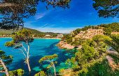 Beautiful view of Canyamel bay, seaside on Mallorca, Spain Mediterranean Sea