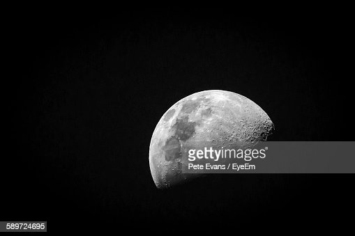 Idyllic View Of Crescent Moon In Clear Sky At Night