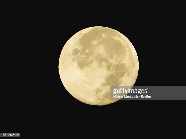 Idyllic View Of Majestic Moon In Clear Sky At Night