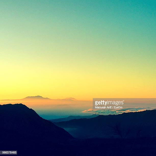 Idyllic View Of Mountain Landscape From Mount Bromo Against Clear Sky