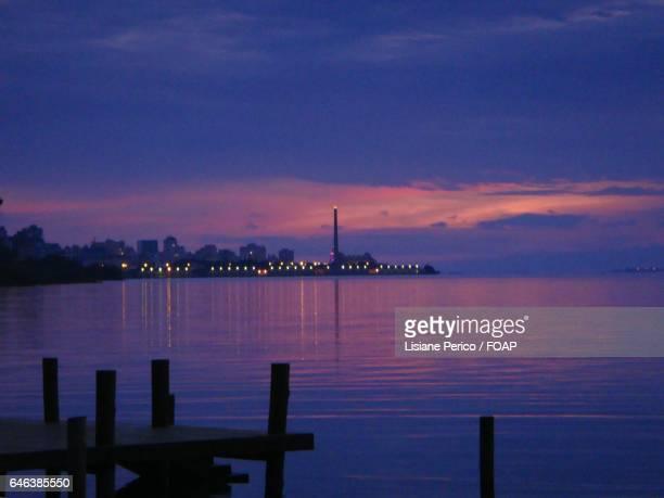 Idyllic view of sea at sunset
