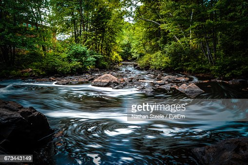 Idyllic View Of Stream Flowing Against Trees At Forest