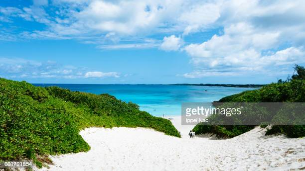 Idyllic white sand beach of tropical Japanese island, Miyakojima