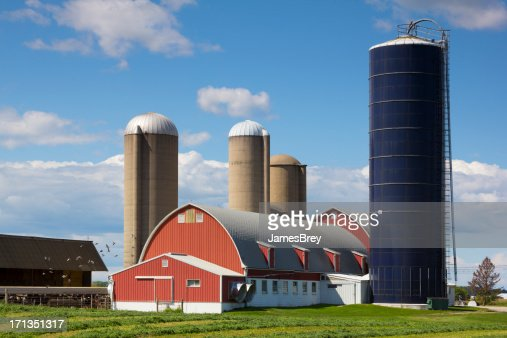 Idyllic Wisconsin Farm, Red Barn, Silos