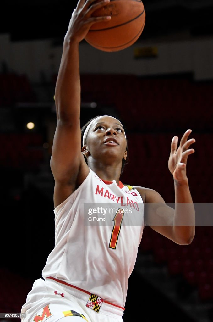 Ieshia Small #1 of the Maryland Terrapins drives to the hoop against the Mount St. Mary's Mountaineers at Xfinity Center on December 6, 2017 in College Park, Maryland.