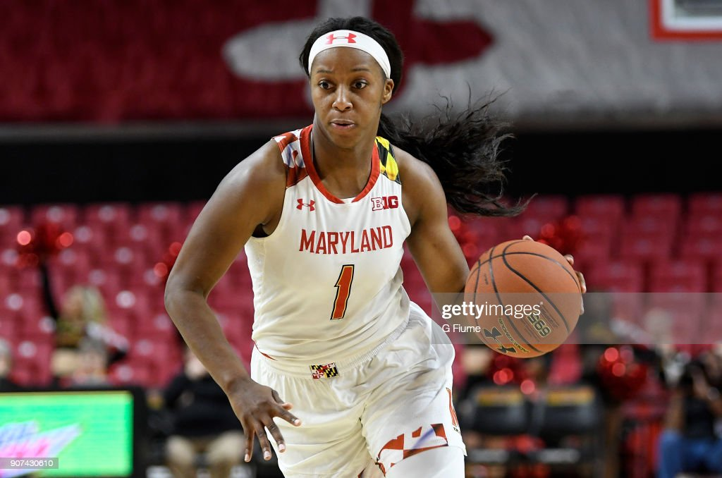 Ieshia Small #1 of the Maryland Terrapins handles the ball against the Mount St. Mary's Mountaineers at Xfinity Center on December 6, 2017 in College Park, Maryland.
