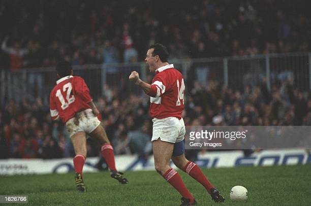 Ieuan Evans of Wales celebrates after scoring a try in the Llanelli v Australia match during the 1992 Australian tour of the British Isles at Strady...