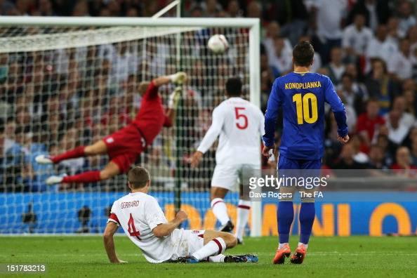 Ievgenii Konoplianka of Ukraine looks on as his shot beats goalkeeper Joe Hart of England to score the opening goal during the FIFA 2014 World Cup...