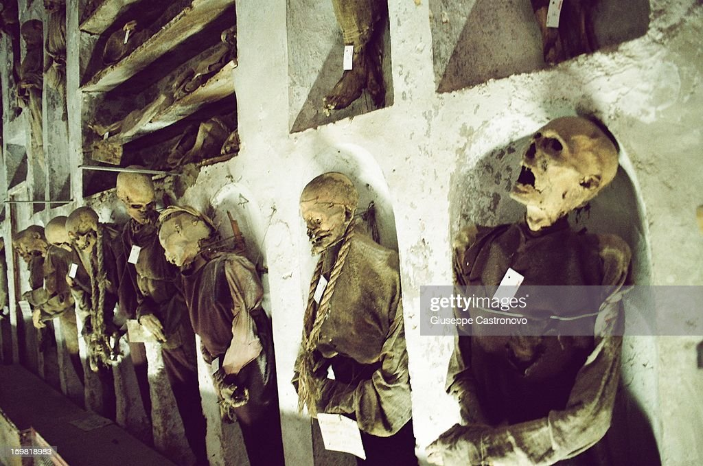 CONTENT] If you go to Sicily you can't miss the capuchin catacombs of Palermo, something that confirms the ghoulish side of this city. A cemetery that contains 8000 mummies, lined upon walls, lying or standing, skeletons, and perfectly preserved bodies. It was active until 1920, when the last body was interred.