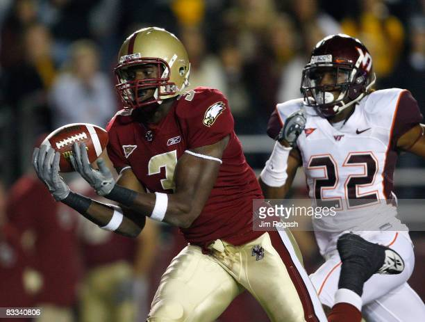 Ifeanyi Momah of the Boston College Eagles beats Stephan Virgil of the Virginia Tech Hokies on October 18 2008 at Alumni Stadium in Chestnut Hill...