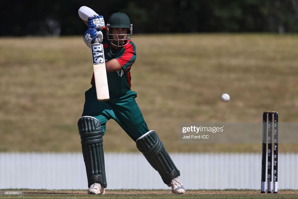Ifran Karim of Kenya plays a shot during an ICC World Cup qualifying match between Namibia and Kenya on January 17, 2014 in Mount Maunganui, New Zealand.
