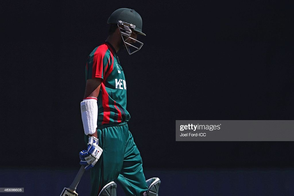 Ifran Karim of Kenya walks off the pitch after being bowled out during an ICC World Cup qualifying match between Namibia and Kenya on January 17, 2014 in Mount Maunganui, New Zealand.