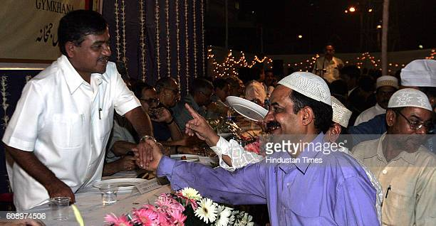 Iftaar Party Dy CM RR Patil shaking hands with the Muslim friends during a Iftar Party organised by Mumbai Police at Police Gymkhana on Wednesday