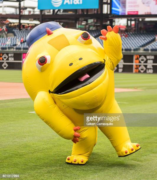 Iggy a land iguana of the Galapagos Gang is seen during WWE professional wrestler AJ Styles throws out the first pitch at the Milwaukee Brewers Vs...
