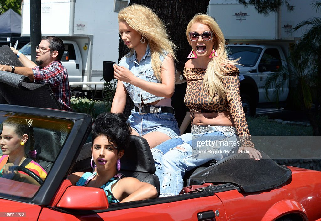 <a gi-track='captionPersonalityLinkClicked' href=/galleries/search?phrase=Iggy+Azalea&family=editorial&specificpeople=8558263 ng-click='$event.stopPropagation()'>Iggy Azalea</a> and <a gi-track='captionPersonalityLinkClicked' href=/galleries/search?phrase=Britney+Spears&family=editorial&specificpeople=156415 ng-click='$event.stopPropagation()'>Britney Spears</a> are seen on set of their music video on April 09, 2015 in Los Angeles, California.