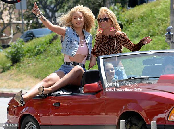Iggy Azalea and Britney Spears are seen on set of their music video on April 09 2015 in Los Angeles California