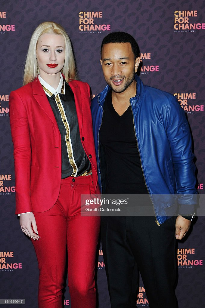 Iggy Azalea and John Legend attend a press conference to announce 'The Sound Of Change Live', a global concert event, at the Soho Hotel on March 26, 2013 in London, United Kingdom. Chime For Change, a global campaign for girls' and women's empowerment founded by Gucci and with a founding committee comprised of Gucci Creative Director Frida Giannini, Salma Hayek Pinault and Beyonce Knowles-Carter, today announced a concert event at London's Twickenham Stadium on June 1 with Co-founder and Artistic Director, Beyonce as headliner. Also set to perform are Ellie Goulding, Florence and the Machine, HAIM, Iggy Azalea, John Legend, Laura Pausini, Rita Ora, Timbaland and more to be announced.