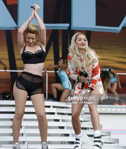 Iggy Azalea and Rita Ora performing on the Main Stage at the Wireless Festival in Finsbury Park north London