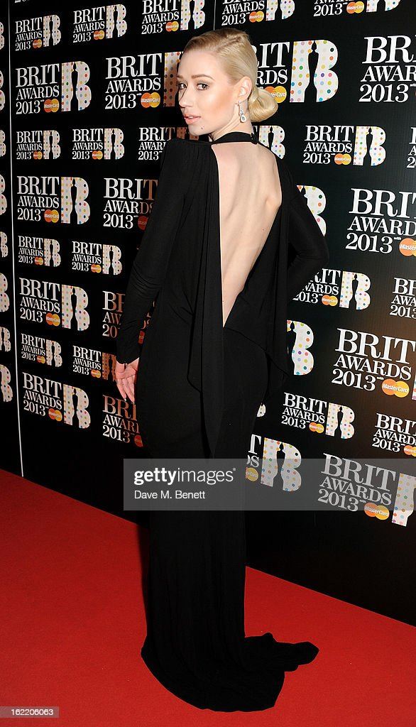 Iggy Azalea arrives at the BRIT Awards 2013 at the O2 Arena on February 20, 2013 in London, England.
